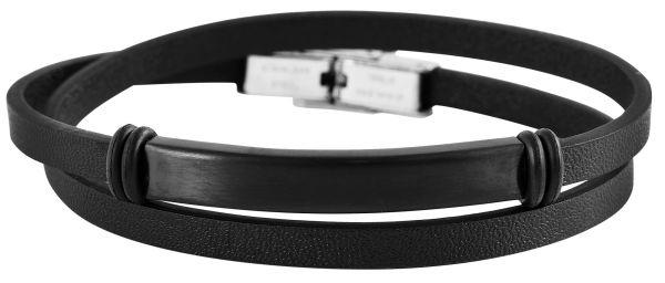 Armband mit Gravur modernes Wickelarmband schwarz Herren