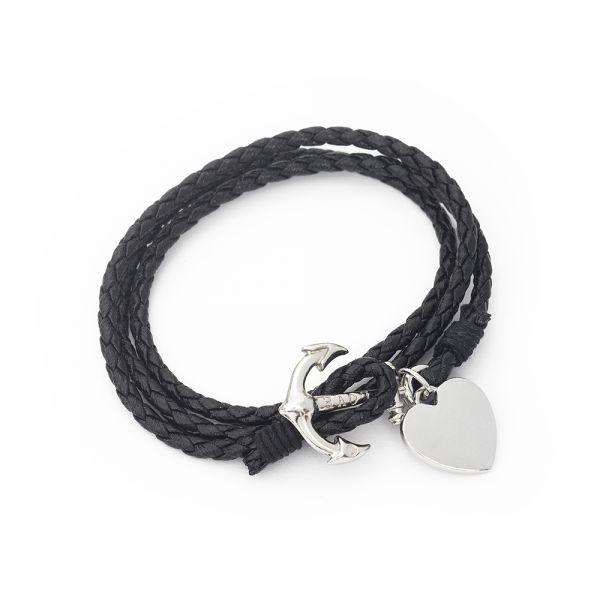 Wickel Armband mit Gravur schwarz
