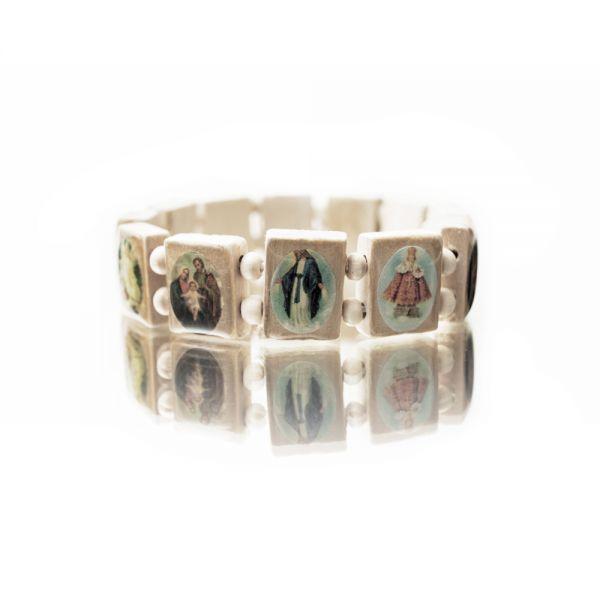 Holzarmband mit Heiligenbildern in weiß