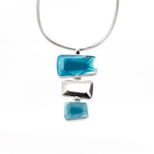 Halskette mit Email-Anhänger in blau