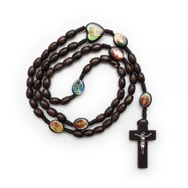 Rosenkranzkette mit Heiligenbildern, braun