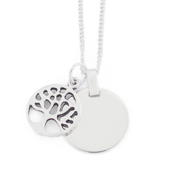 925er Silber Halskette Lebensbaum mit Gravur