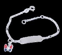 Silber Armband mit Gravur Baby Namensarmband Schmetterling