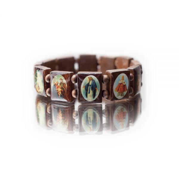 Holzarmband mit Heiligenbildern in braun