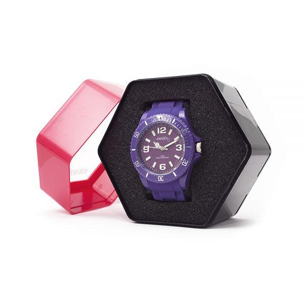 Violette Uhr der Marke Amadea in Geschenkverpackung