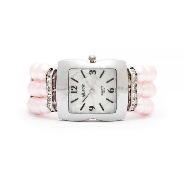 Damenuhr mit rosa Perlenarmband