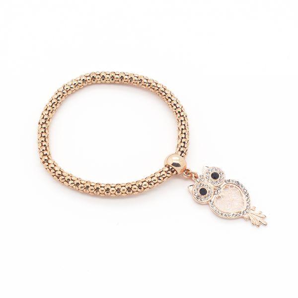 Elastisches Armband mit Eulenanhänger rosegold