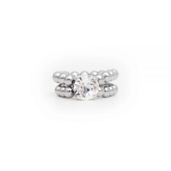 Größenverstellbarer Ring mit Perlen