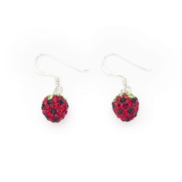 Ohrhänger »Erdbeere« mit Kristallsteinen