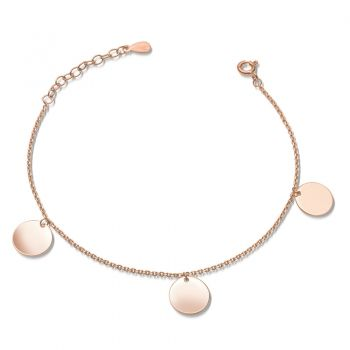 Armband mit 3 Plättchen Gravur rosegold 925 Silber