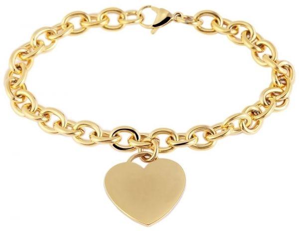Edelstahl-armband mit Herzanhänger gold