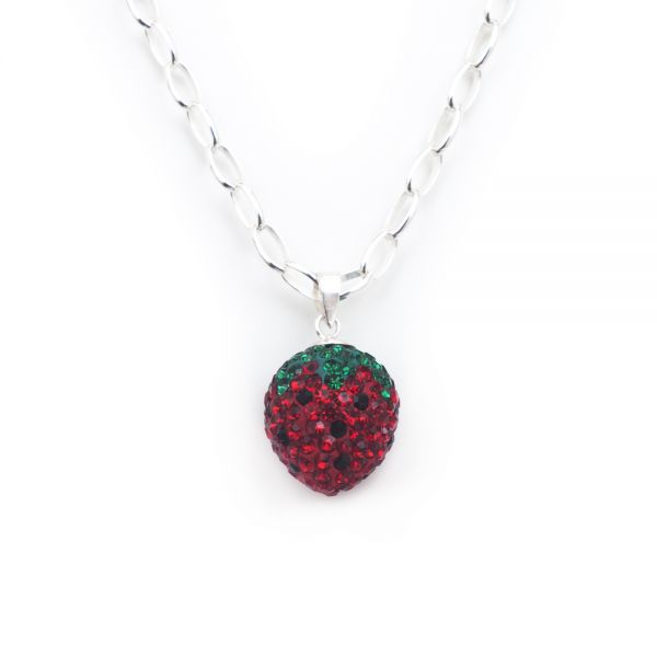 Bezaubernder Kettenanhänger »Erdbeere« im dunklen Design