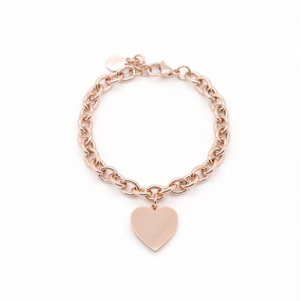 Rosegoldenes Edelstahl Gravur Armband mit Herzanhänger