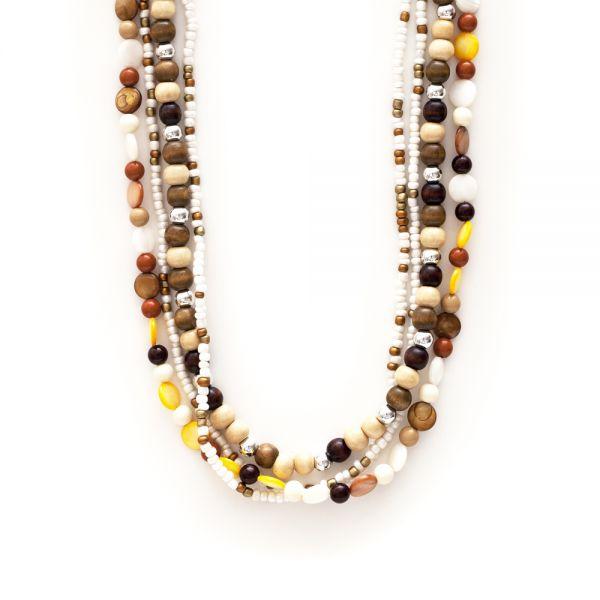 Perlenkette aus Muschel, Holz und Metall (Detail)