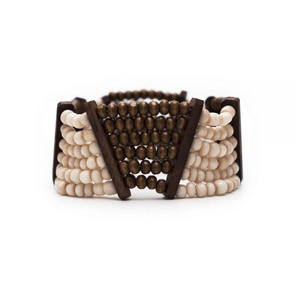 Holzarmband mit Perlen, braun weiß