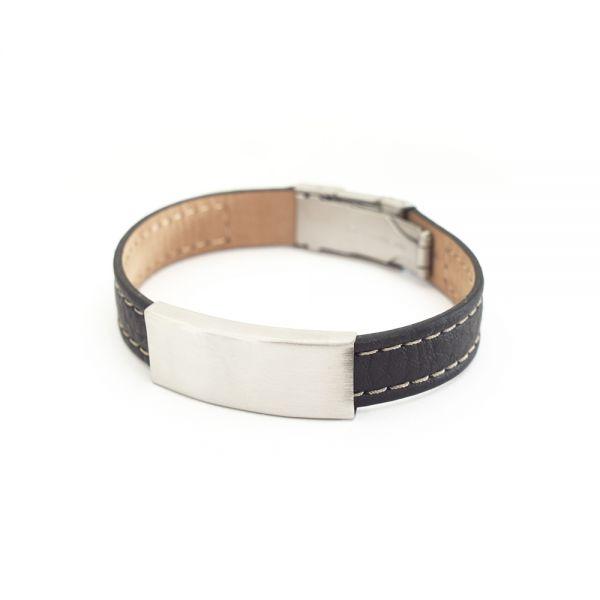 Herrenleder-Armband mit Gravur