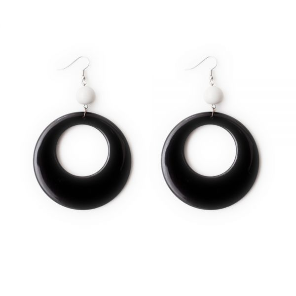 Ohrringe Kreolen aus Kunstoff in schwarz und weiß