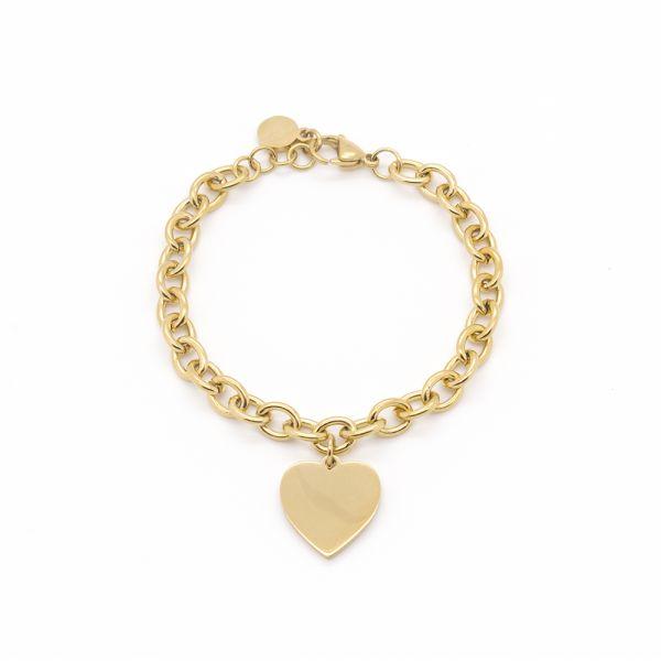 Goldfarbenes Edelstahl Gravur Armband mir Herzanhänger