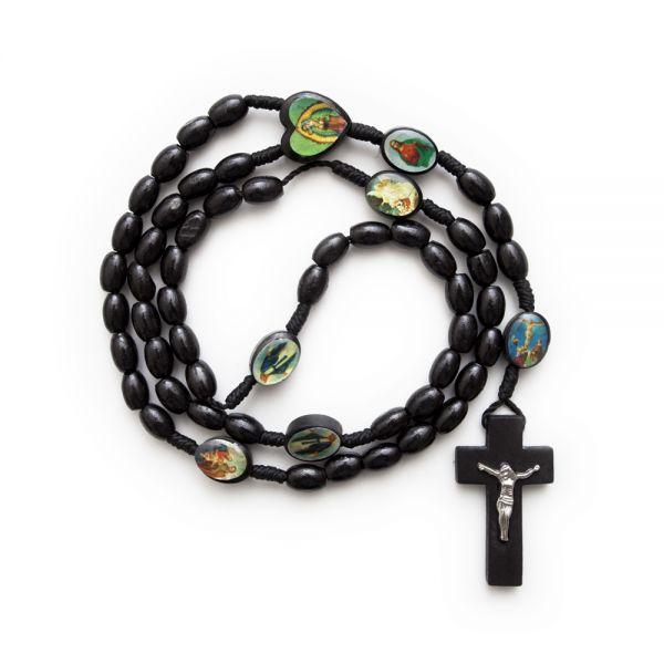 Rosenkranzkette mit Heiligenbildern, schwarz