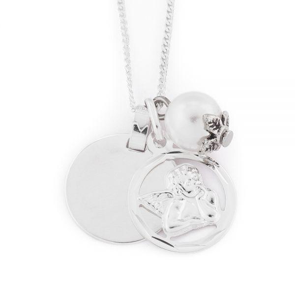925er Silber Halskette Schutzengel mit Gravur