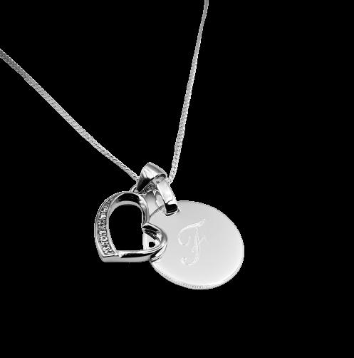 Damen Kette mit Gravur Herz 925 Silber