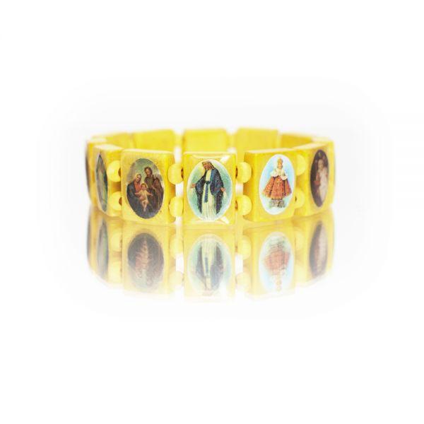 Gelbes Holzarmband mit Heiligenbildern