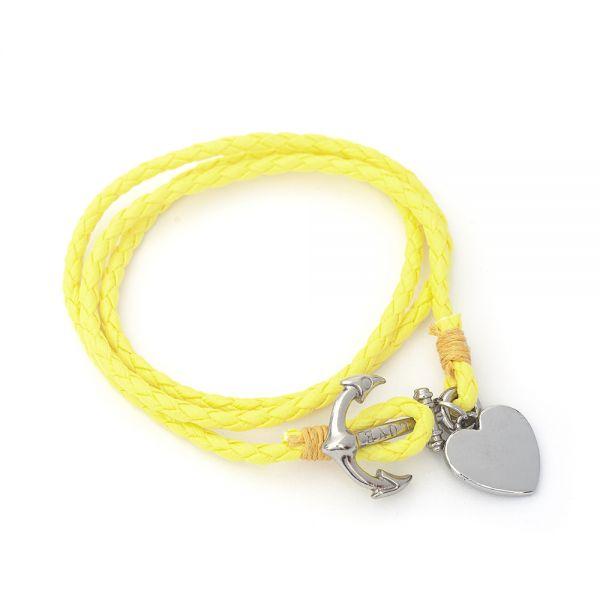 Wickel Armband mit Gravur neongelb