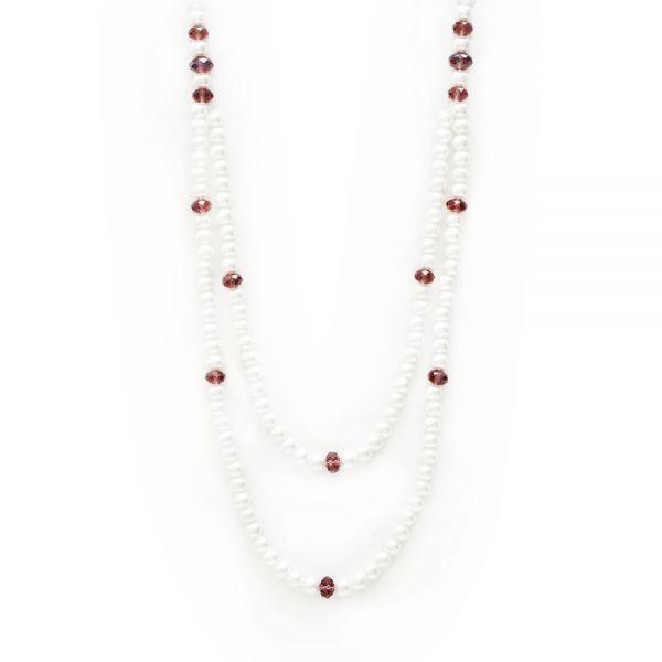 Klassische Perlenkette zweifarbig