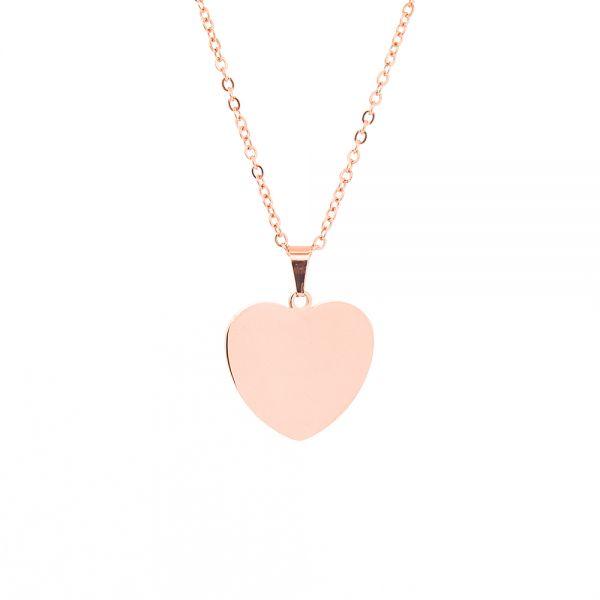 Herz Kette mit Gravur aus Edelstahl rosegold