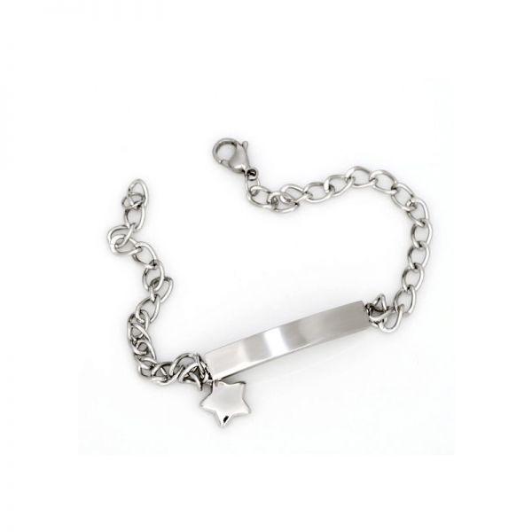 Edelstahl Armband mit Gravur und Stern Anhänger
