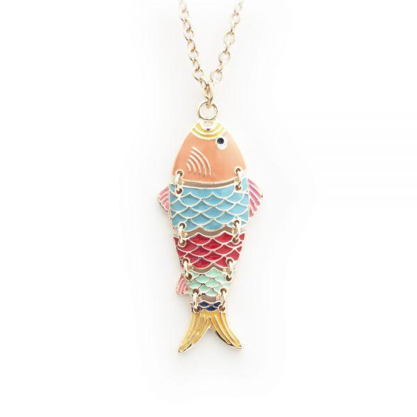 Lange Halskette mit Fisch-Anhänger