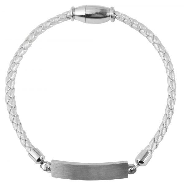 Silberfarbenes Gravur Armband für Damen