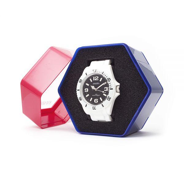 Weiße Uhr der Marke Amadea in Geschenkverpackung