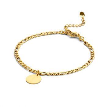 Armband Gravur Figaro Damen Edelstahl gold