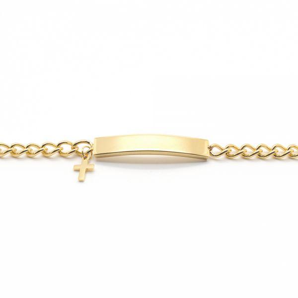 Edelstahl Gravur Armband mit Anhänger goldfarben