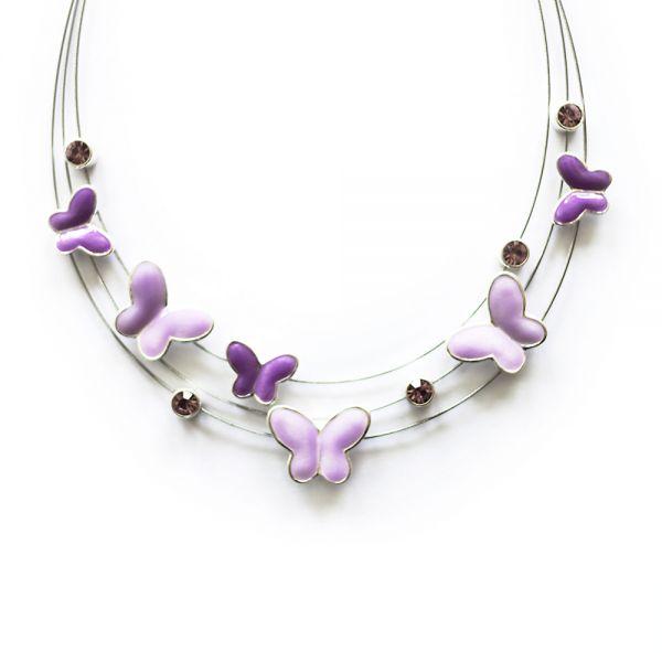 Missfox® kristallbesetzte Schmetterlingshalskette in pink