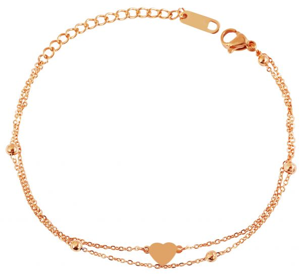 Herz Armband mit Gravur Edelstahl rosegold Damen
