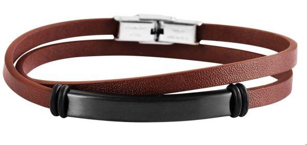 Armband mit Gravur modernes Wickelarmband braun Herren