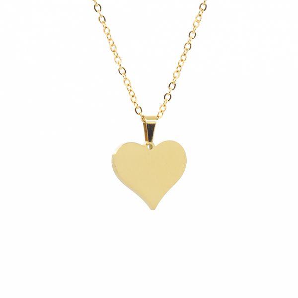 Herz Kette mit Gravur aus Edelstahl goldfarben