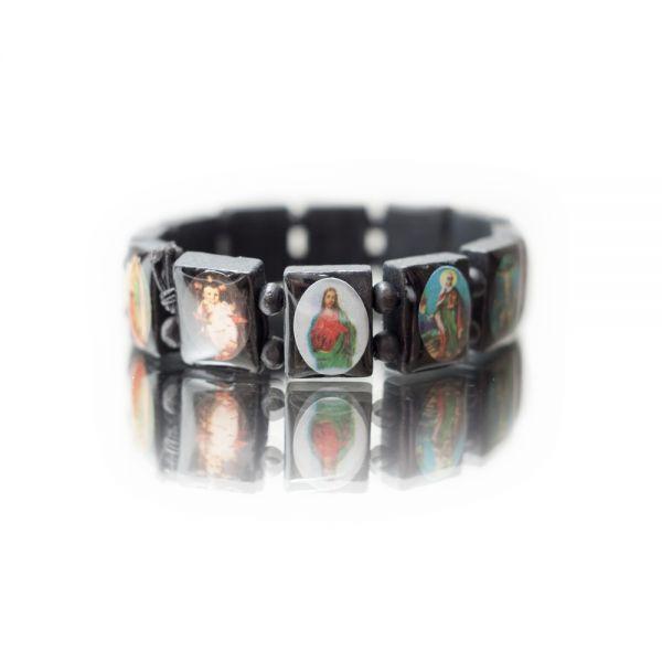 Holzarmband mit Heiligenbildern in schwarz