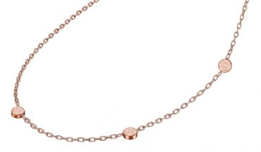 925 Silber Collier Damenkette mit 3 Dots rosegold