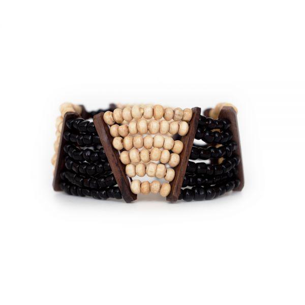 Holzarmband mit Perlen, schwarz weiß