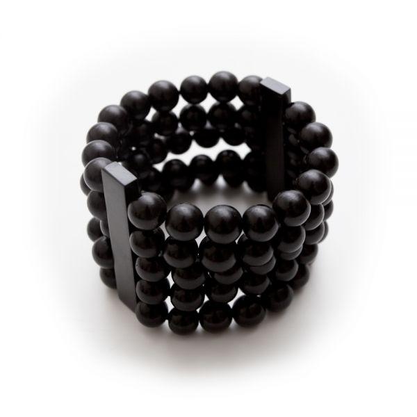 Elastisches Perlenarmband in schwarz
