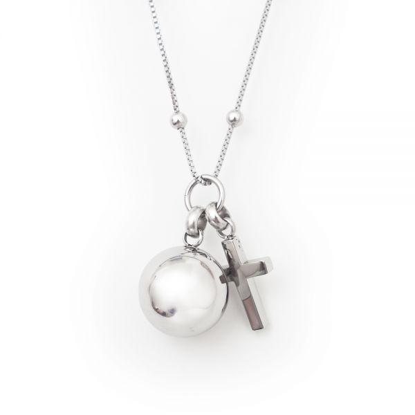 Halskette aus Edelstahl »Kreuz und Kugel«