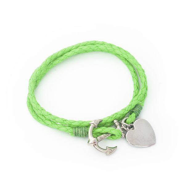 Wickel Armband mit Gravur neongrün
