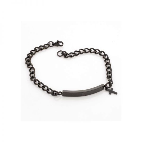 Edelstahl Armband mit Gravur schwarz & Anhänger