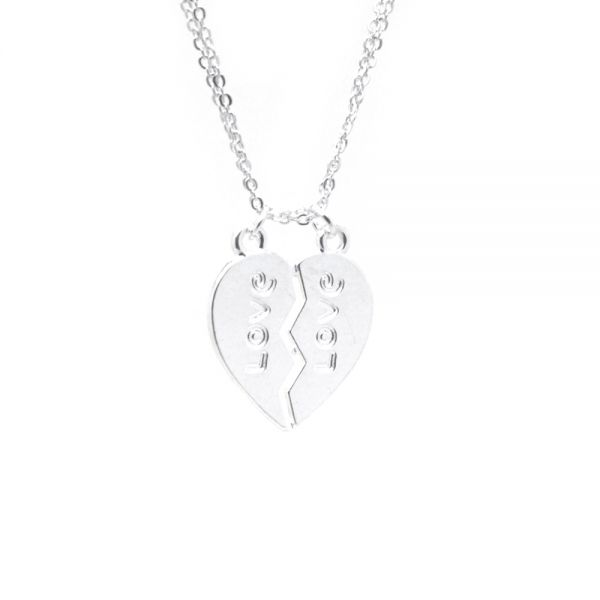 Silberfarbene Partnerketten mit Herzanhänger